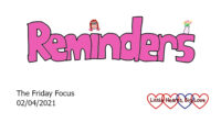 The word 'reminders' in pink with a picture of Jessica as the dot above the 'i' and a doodle of a vase of flowers on the 's'