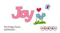 The word 'joy' with doodles of flowers, a heart and a butterfly next to it