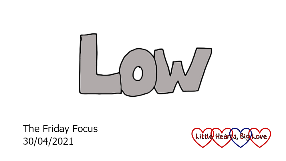 The word 'low' in grey