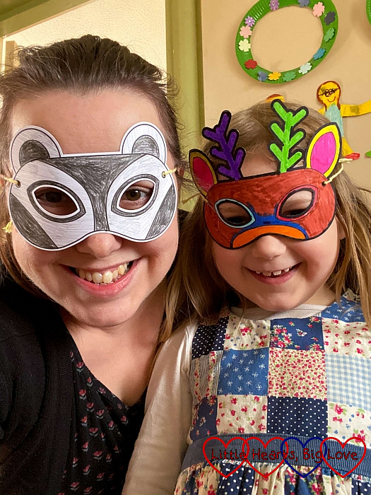 Sophie and I wearing our coloured animal masks