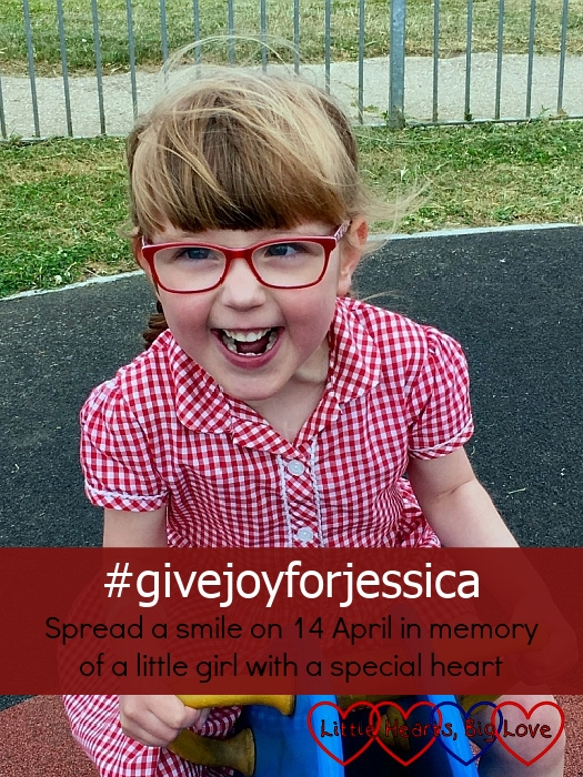 """A smiley Jessica at the park - """"#givejoyforjessica - spread a smile on 14 April in memory of a little girl with a special heart"""""""