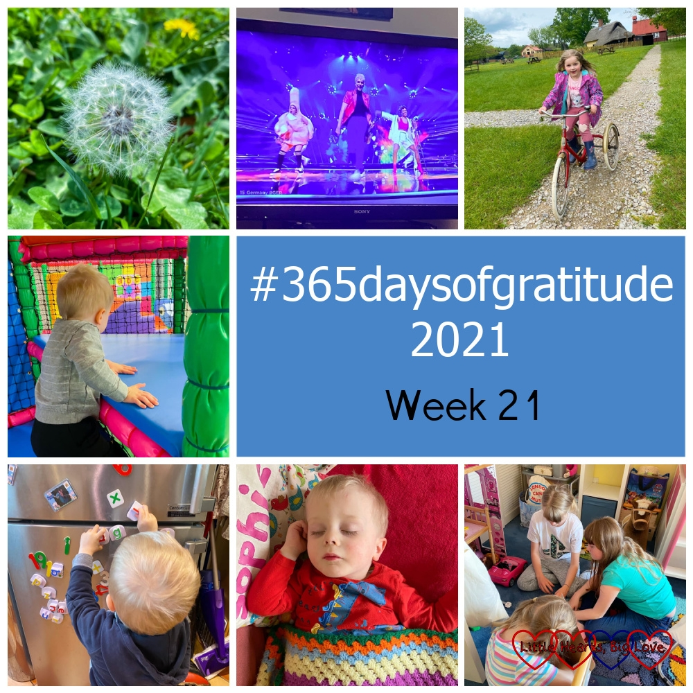 """A dandelion clock; Germany's entry for Eurovision on the TV; Sophie riding a vintage tricycle; Thomas at soft play; Thomas playing with magnetic letters on the fridge; Thomas asleep on the sofa; Sophie with her cousins - """"#365daysofgratitude 2021 - Week 21"""""""