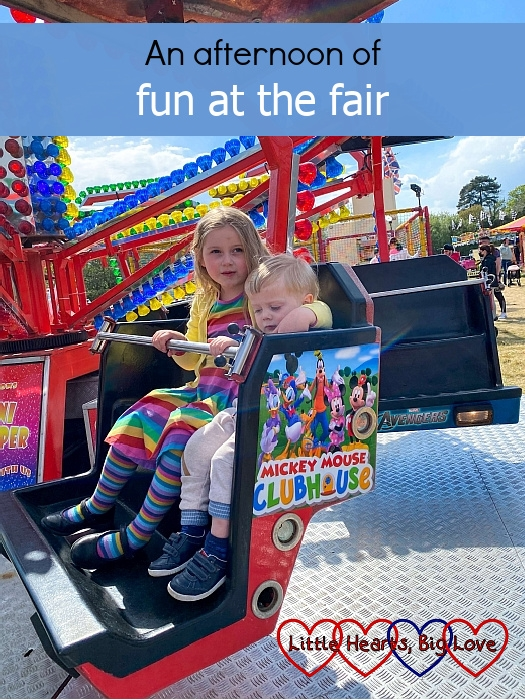 """Sophie and Thomas on the mini paratrooper ride – """"An afternoon of fun at the fair"""""""