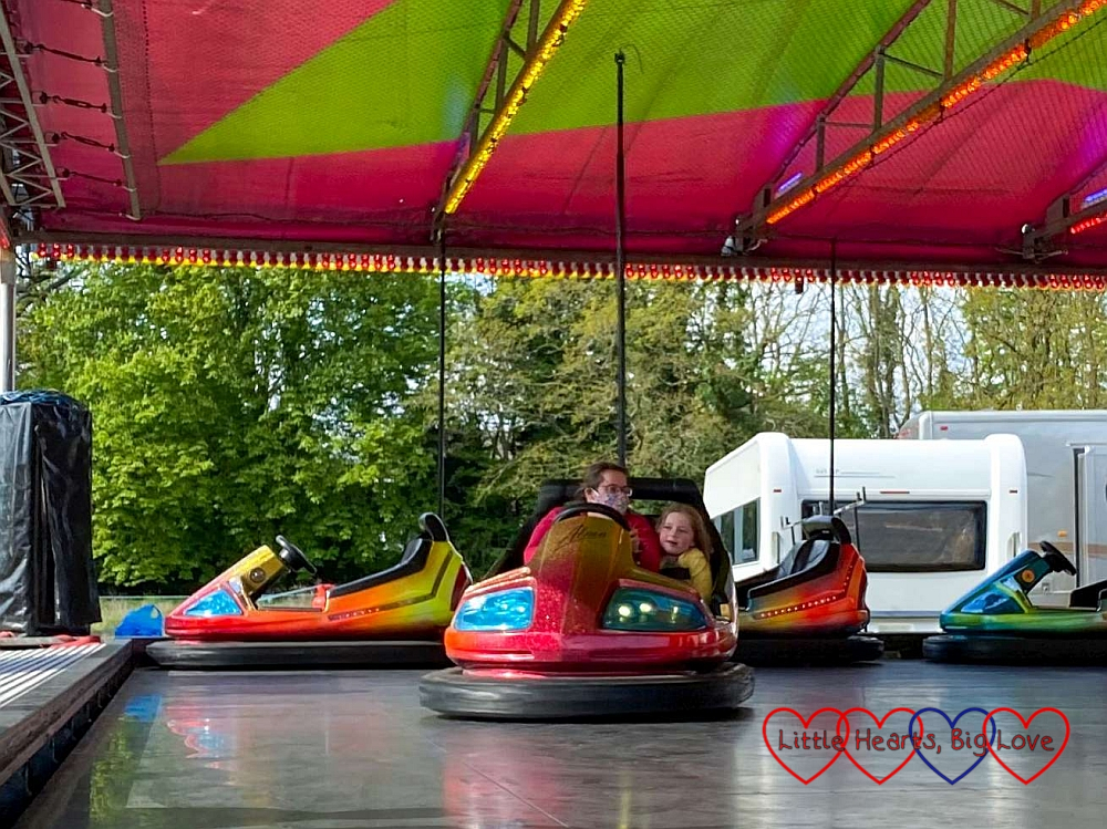 Sophie and Mummy on the dodgems