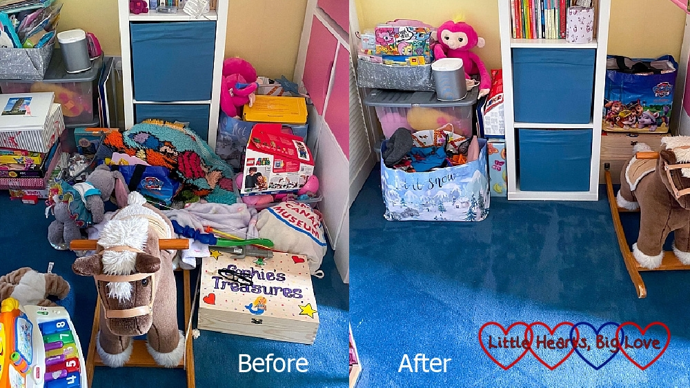 Sophie and Thomas's room looking messy (before) and after being tidied up (after)