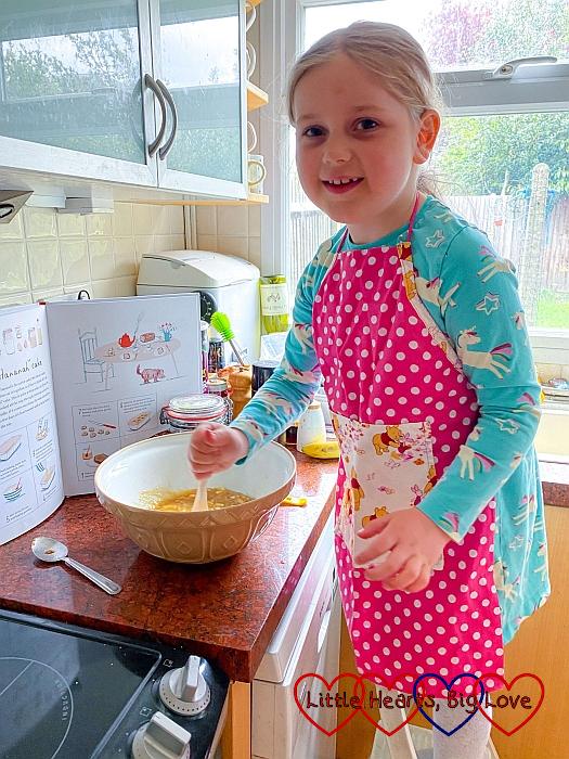 Sophie making a banana and honey cake