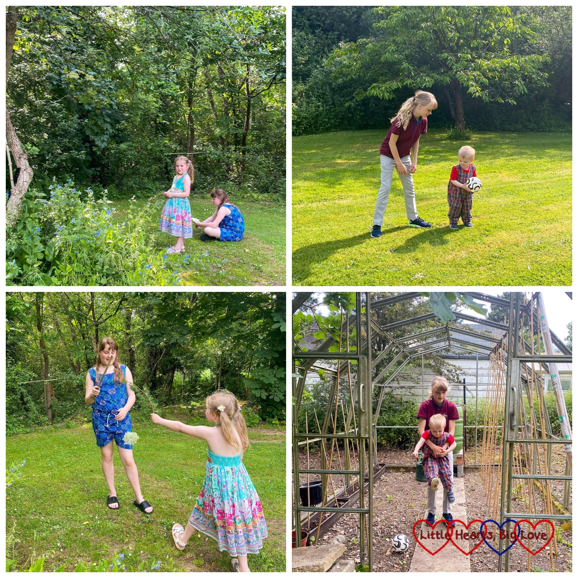 Four photos of Sophie and Thomas playing with their cousins