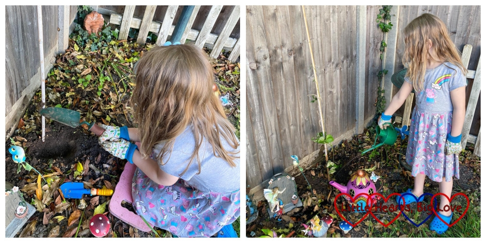 Sophie planting her bean in the fairy garden; the fairy garden with its beanstalk