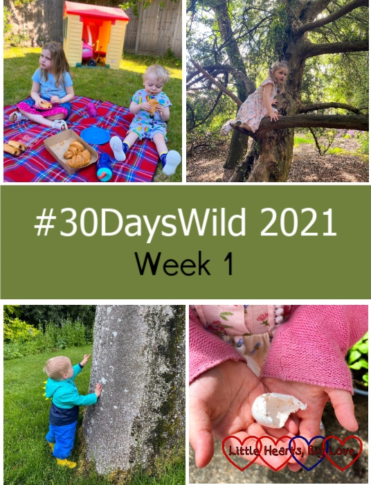 """Sophie and Thomas having a breakfast picnic; Sophie climbing a tree; Thomas looking at a tree; Sophie holding a white bird's egg - """"#30DaysWild 2021 - Week 1"""""""