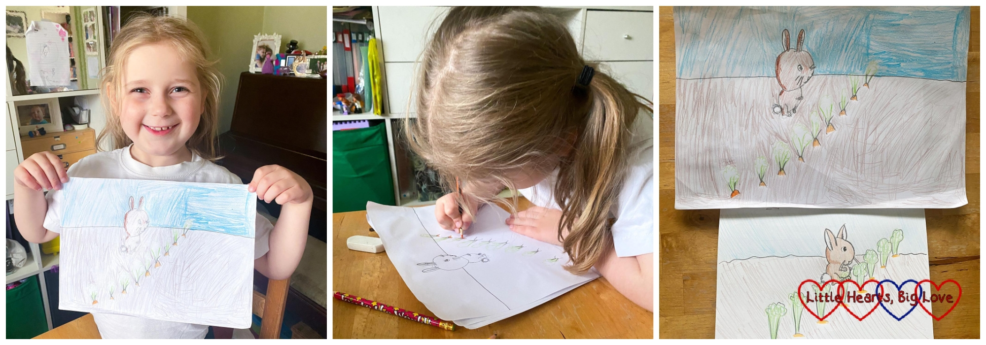 Sophie holding her drawing of a rabbit; Sophie drawing a rabbit; my drawing and Sophie's drawing of a rabbit