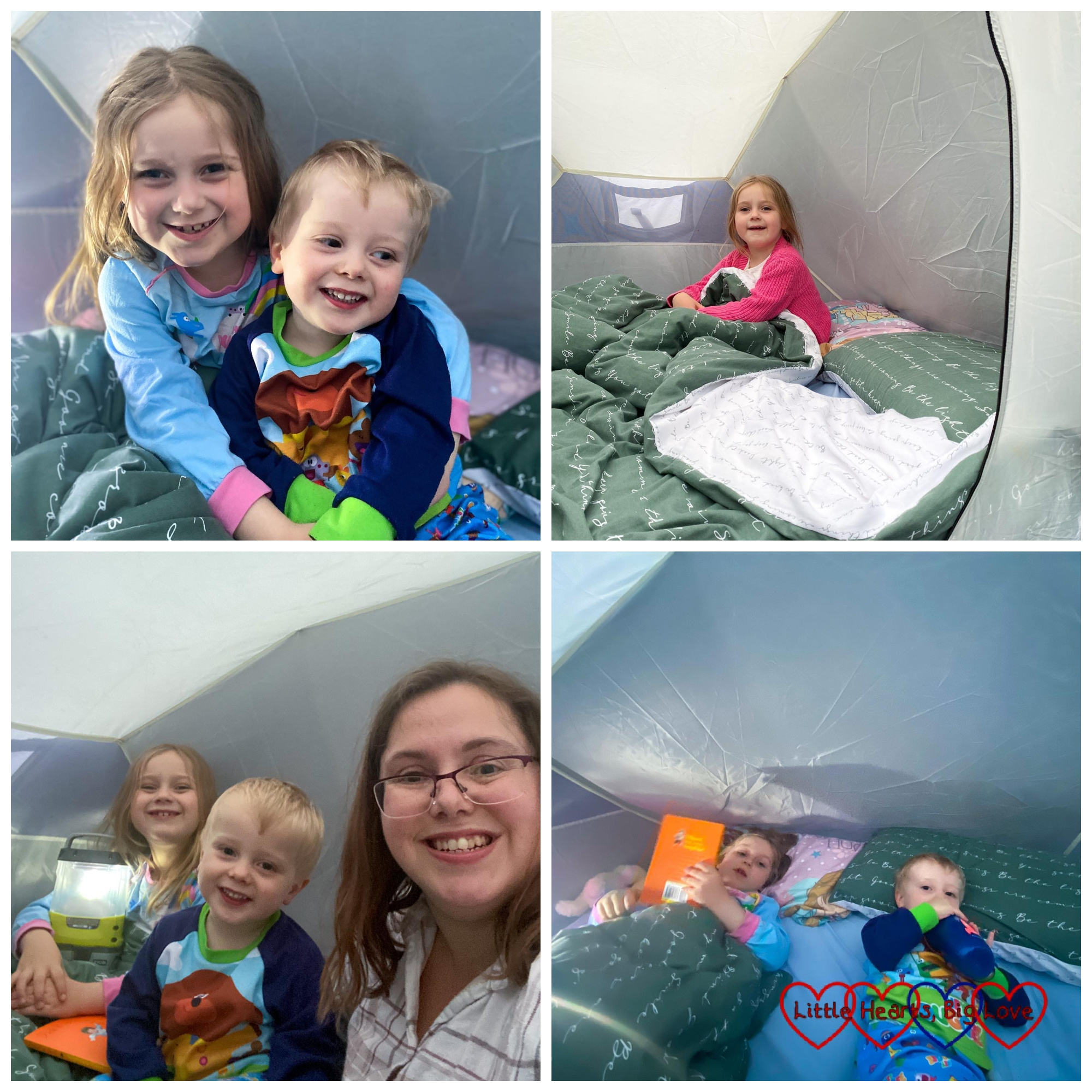Thomas and Sophie in the tent; Sophie sitting inside the tent; Sophie, Thomas and me in the tent; Sophie and Thomas snuggled up ready to sleep in the tent
