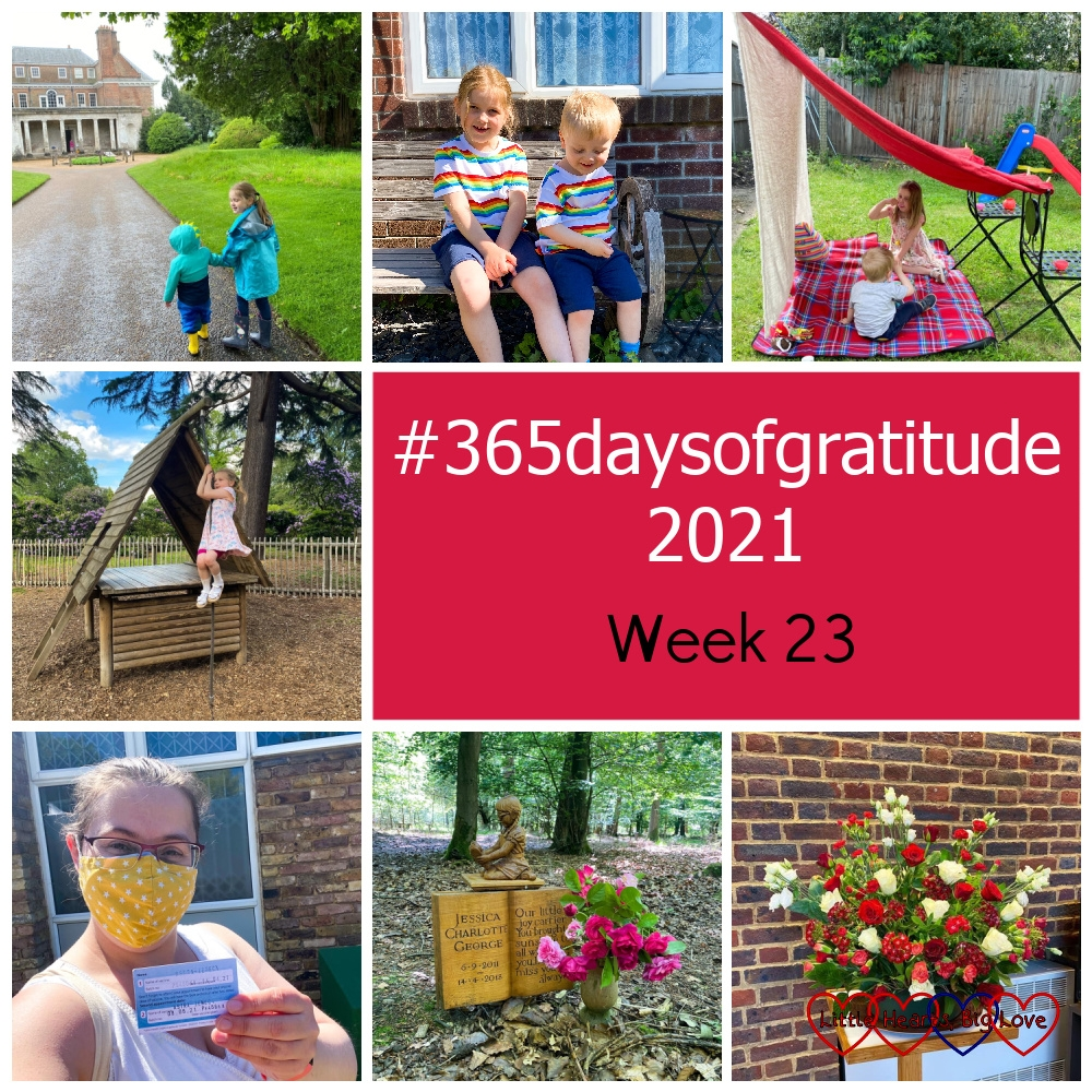 """Thomas and Sophie at Uppark; Sophie and Thomas in matching rainbow T-shirts and blue shorts in my mum's garden; Sophie sitting in her den in the garden; Sophie in the playground at Langley Park; me with my vaccine card; roses from the garden at Jessica's forever bed; an arrangement of red and white flowers - """"#365daysofgratitude 2021 - Week 23"""""""