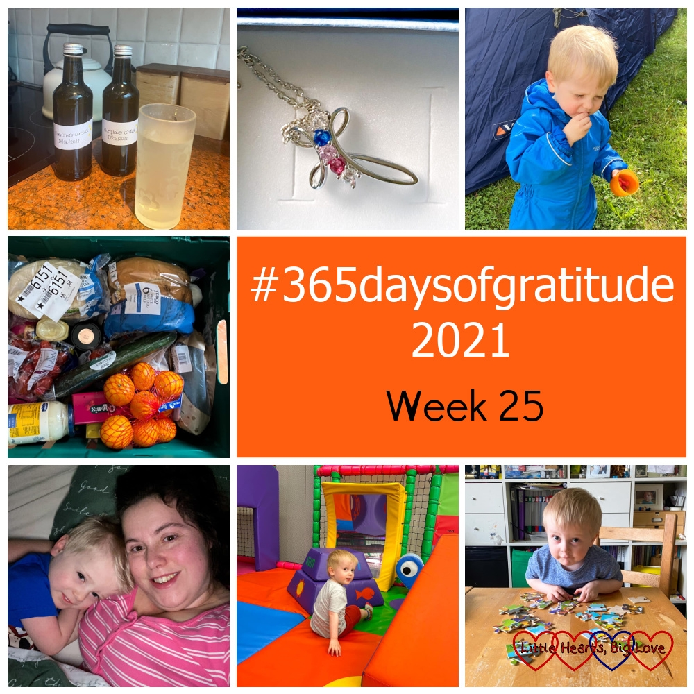 """Two bottles and a glass of elderflower cordial; a necklace with three gemstones; Thomas eating raspberries; a delivery basket of food; me and Thomas snuggled up in my bed; Thomas playing in the soft play at HALO play cafe; Thomas doing a jigsaw at the table - """"#365daysofgratitude 2021 - week 25"""""""