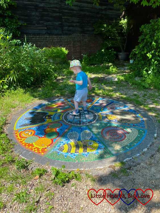 Thomas standing on a circular mosaic with pictures of bees, caterpillars, snails and bats
