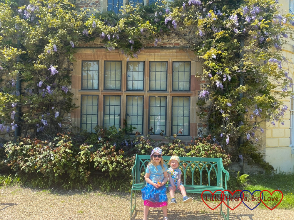Sophie and Thomas sitting on a bench under a wisteria-surrounded window at Greys Court