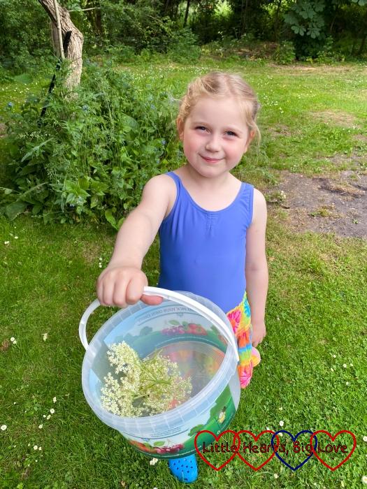 Sophie collecting elderflowers