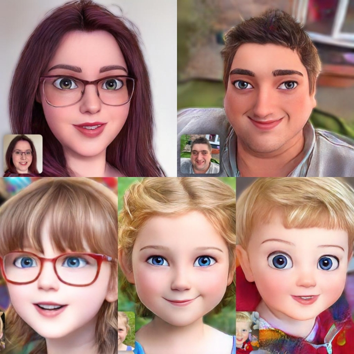 Cartoonised photos of me, hubby, Jessica, Sophie and Thomas