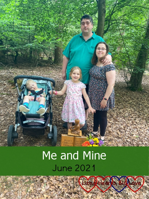 """Me, hubby, Sophie and Thomas (asleep in his buggy) at Jessica's forever bed - """"Me and Mine - June 2021"""""""