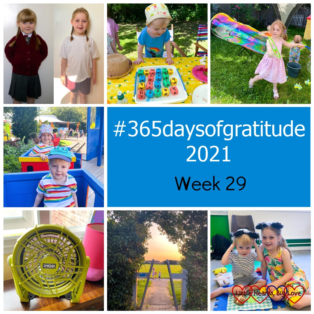 """Sophie on her first and last day of infant school; Thomas with his alphabet block birthday cake; Sophie blowing giant bubbles in the garden; Thomas and Sophie on the Duplo train at Legoland; a portable fan; Thomas and Sophie against a sunset sky at the park; Sophie and Thomas wearing bear ears at Tiny Talk - """"#365daysofgratitude 2021 - Week 29"""""""