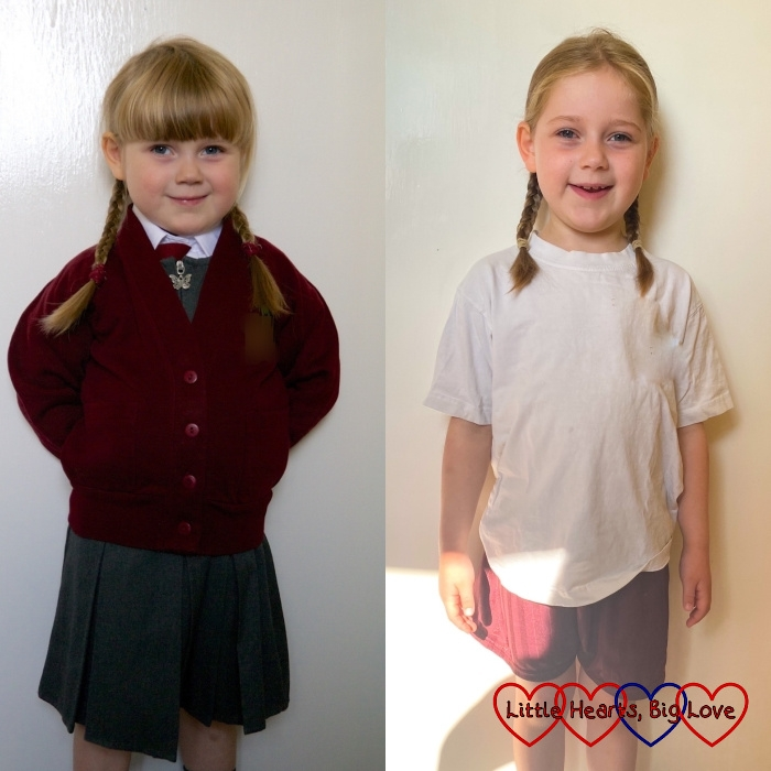 Sophie on the first day of Reception and the last day of Year 2