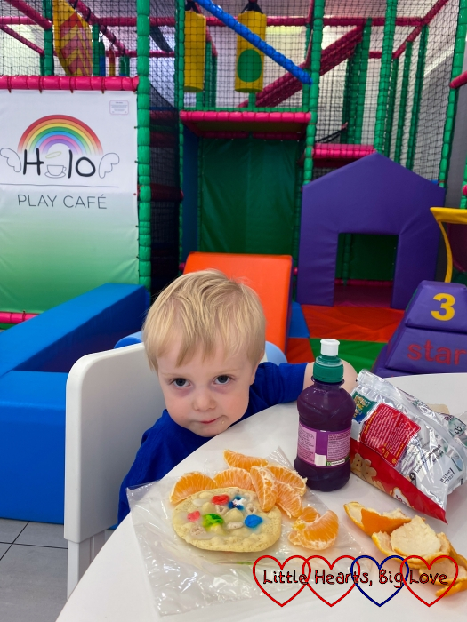 Thomas eating lunch at Halo Play Cafe