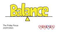The word balance drawn balancing on a line
