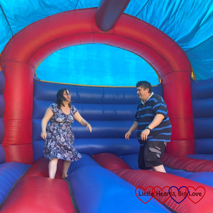 Me and hubby on a bouncy castle