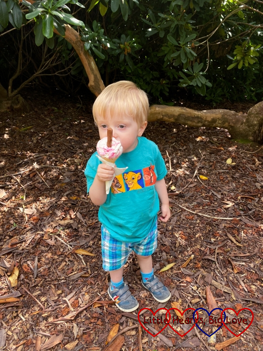 Thomas eating a cherry ice-cream at Langley Park