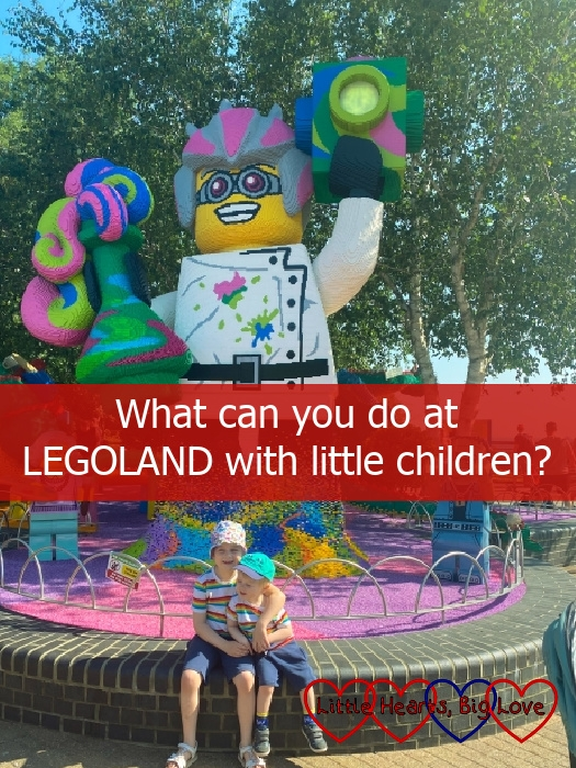 """Sophie and Thomas in front of a LEGO model of a crazy scientist - """"What can you do at LEGOLAND with little children?"""""""