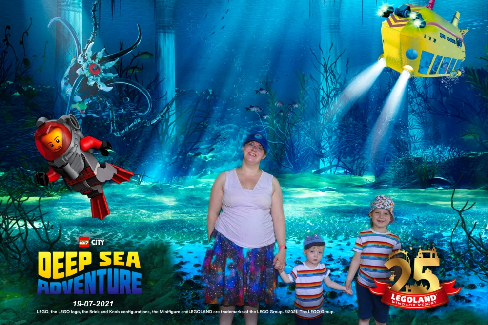 Me, Thomas and Sophie with an underwater scene in the background