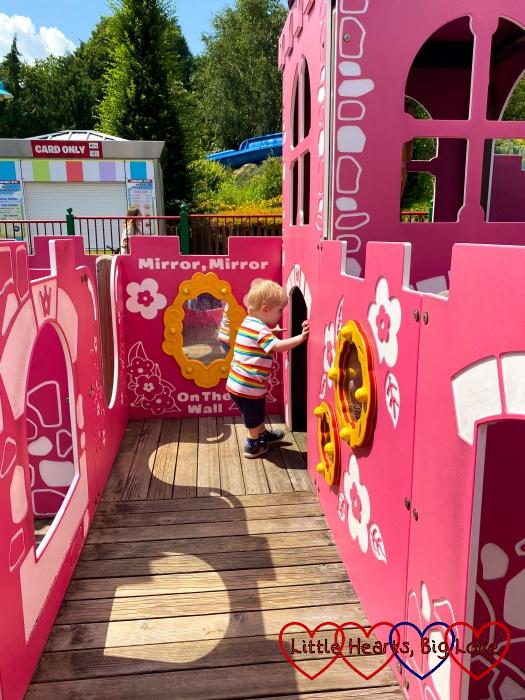 Thomas exploring the princess castle in DUPLO Playtown