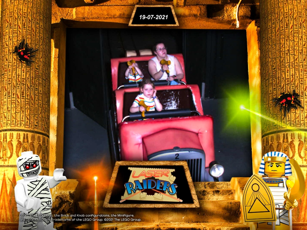 Me, Thomas and Sophie shooting with our laser guns on the Laser Raiders ride