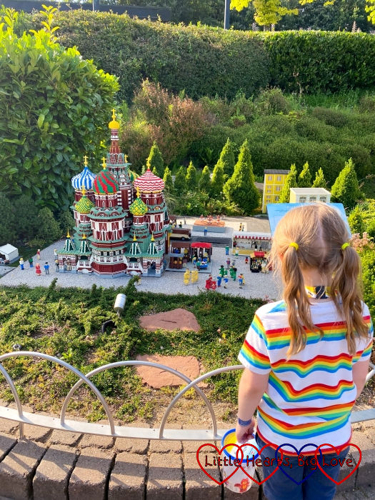 Sophie looking at the LEGO St Basil's Cathedral in Miniland