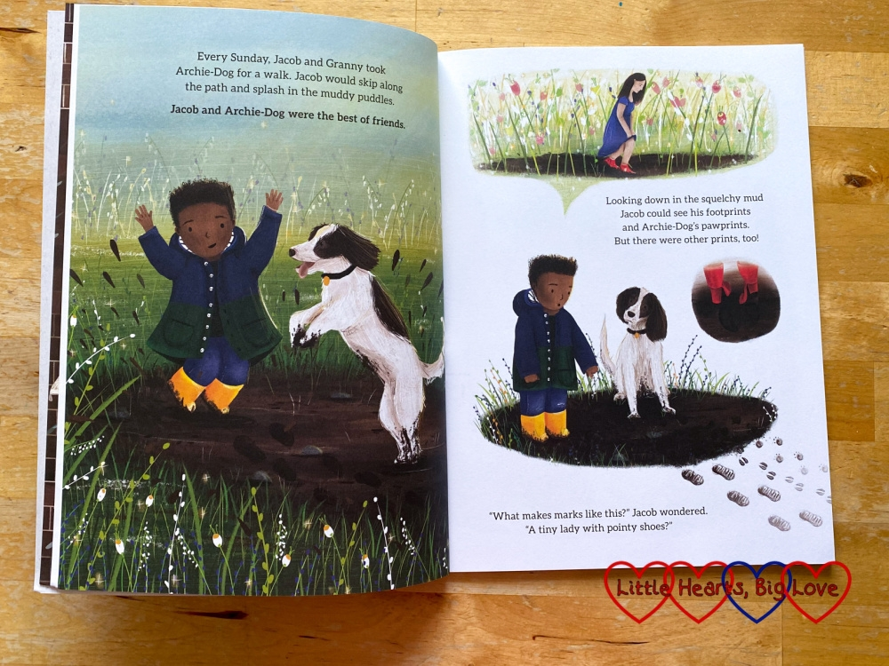 Two pages of the book 'There's No Deer Around Here' showing Jacob discovering muddy prints