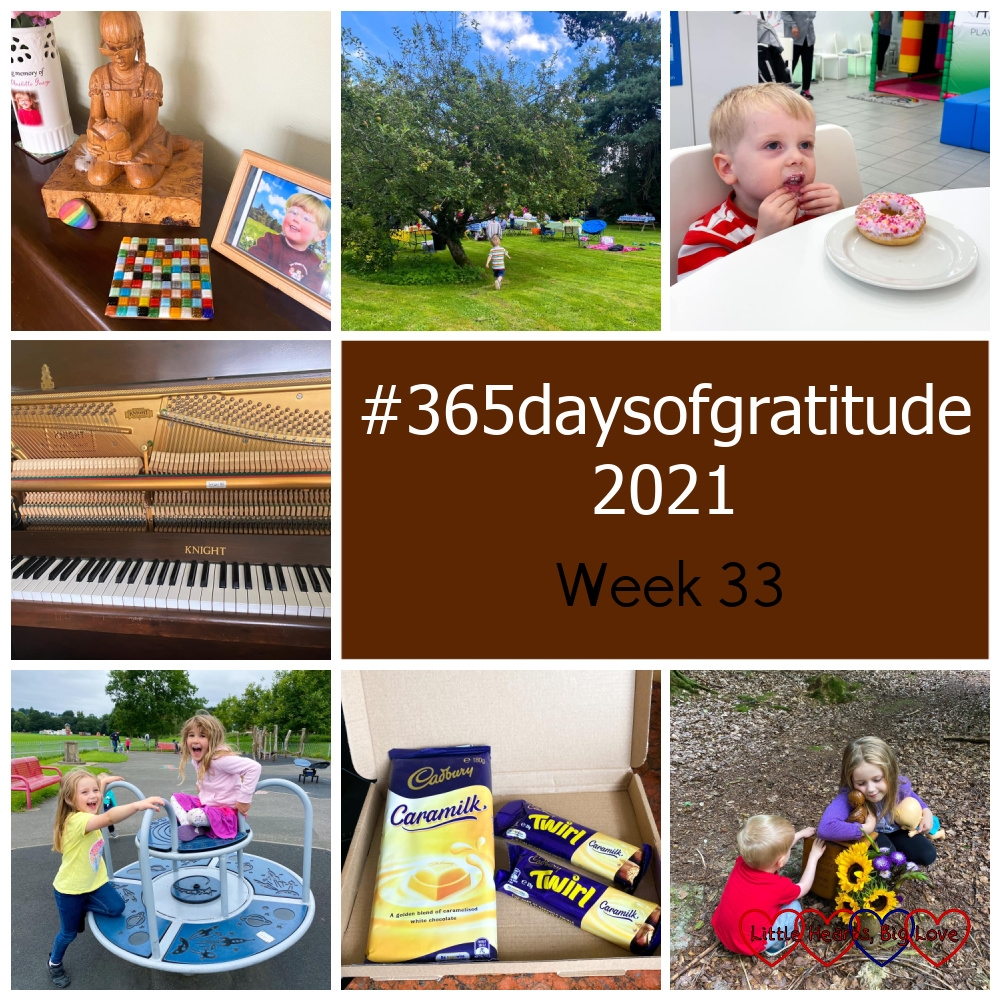 """A mosaic coaster in front of the wooden sculpture of Jessica on my piano; Thomas at the church picnic; Thomas eating a donut at the Halo play cafe; the inside of my piano; Sophie with her friend on the roundabout at the park; a large Caramilk bar and two Caramilk Twirl bars; Sophie hugging the wooden sculpture of Jessica at Jessica's forever bed with Thomas looking at the words on the memorial - """"#365daysofgratitude 2021 - Week 33"""""""