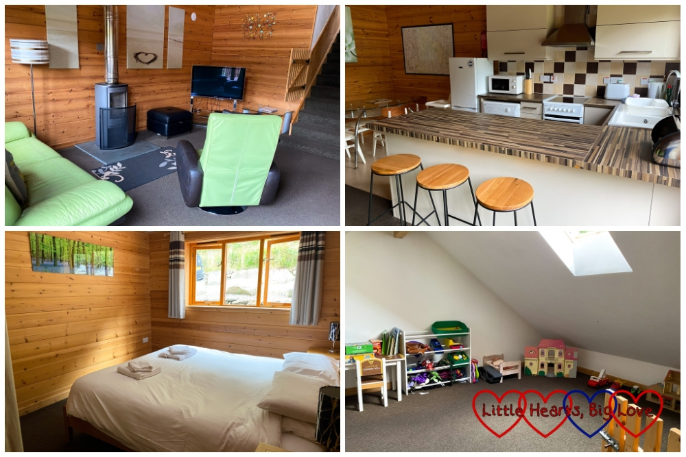 Four photos showing the inside of Trevarno lodge at Coombe Mill (living area, kitchen, master bedroom and playroom)