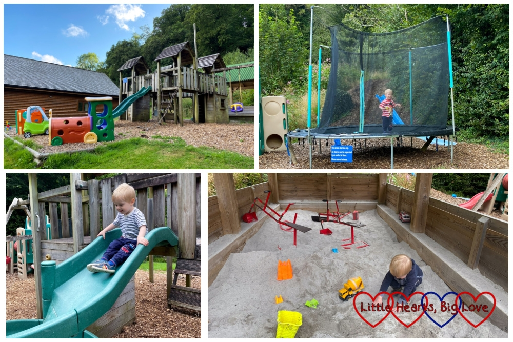 Four photos showing the playground at Coombe Mill with Thomas playing on the trampoline, going down the twirly slide and playing in the sand area