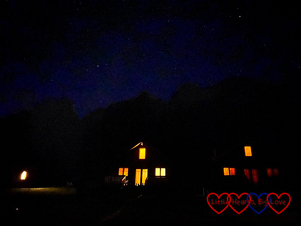 A starry sky above the lodges at Coombe Mill