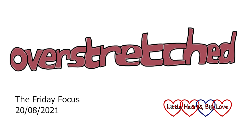 The word 'overstretched' written as a stretched out word