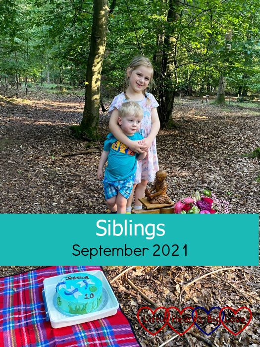"""Sophie and Thomas with Jessica's birthday cake at Jessica's forever bed - """"Siblings - September 2021"""""""