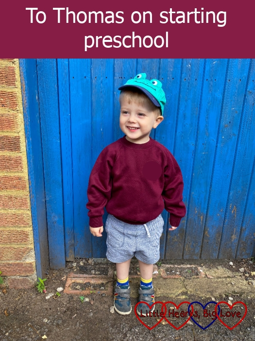 Thomas outside the gate on his first day at preschool
