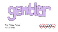 The word 'gentler' in lilac