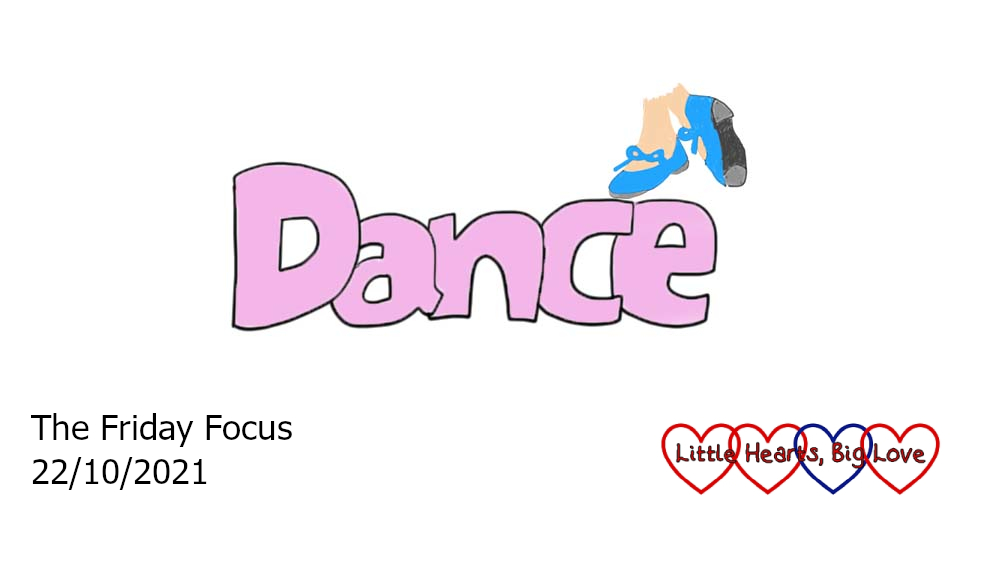 The word 'dance' in pink with a drawing of blue tap shoes above the 'c' and 'e'